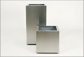 Large square stainless steel planter